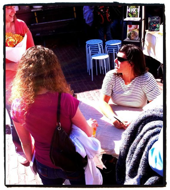 """Amy Pennington chatting with fans & signing copies of her book, """"Urban Pantry"""""""